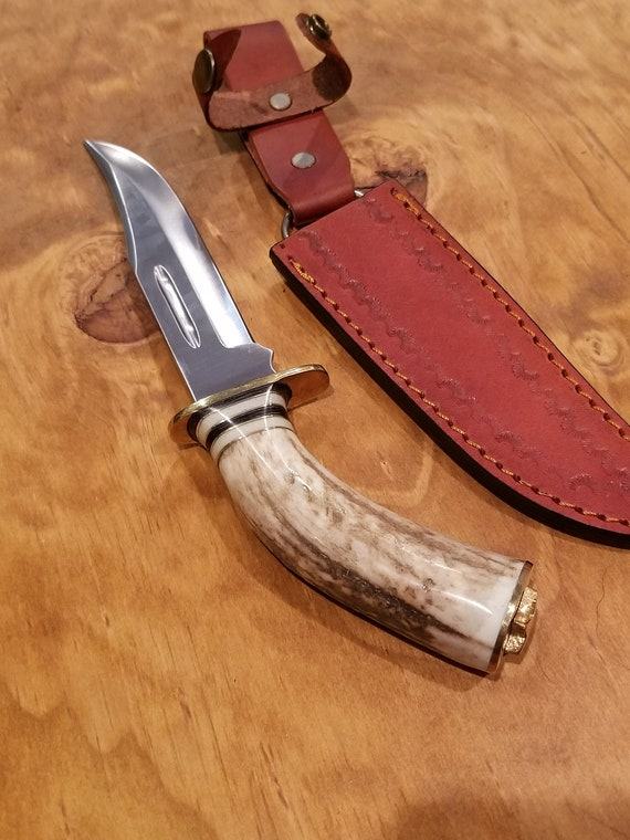 Handmade Deer Antler Handle Hunting Knife Stag Horn Collection With Leather Sheath Outdoors Hunt (K105)