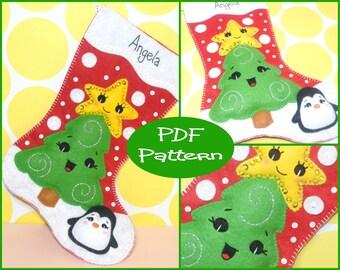 PDF Pattern - Felt Christmas Stocking Pattern, Christmas Tree, Felt Stocking, Sewing Pattern, Christmas Decoration, Christmas Crafts,