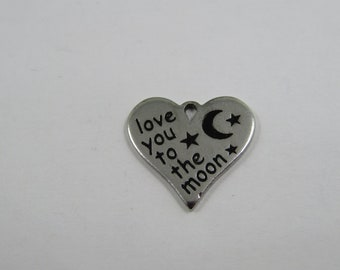 """charm medal message heart """"love you to the moon"""" Silver stainless steel (W86)"""