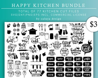 Happy Kitchen SVG Cut File Bundle Deal | Cut File for Cricut & Cameo Silhouette | Kitchen DXF Cut File | Kitchen Quote Cut File, Quotes