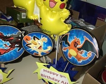 Custom Pokemon Centerpiece with Pikachu Balloon