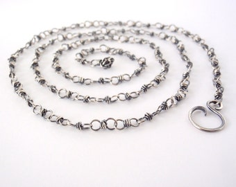 70cm Sterling Silver Chain ~ 28 inch ~ Handmade Chain ~ Antiqued Eco-Friendly Recycled Sterling Silver ~ Oxidised ~ Wire Wrapped Loops
