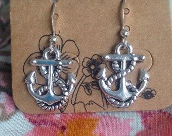 Stainless steel anchor dangle drop hypoallergenic silver hook earring card earrings