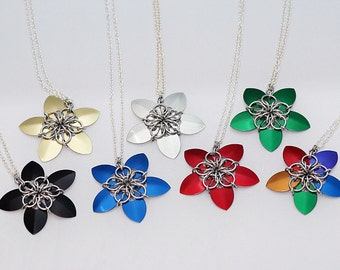 Scale Star Flower Chainmail Pendant Necklace (CHOOSE ONE)