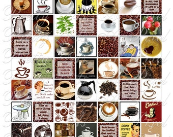 Coffee - Inchies, 7-8 inch, and scrabble tile size .75 x .83 inch - Digital Collage Sheet - INSTANT DOWNLOAD