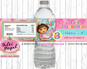 10 DORA The Explorer Birthday Party Custom Pink and Teal Water Bottle Labels Dora Party Favors