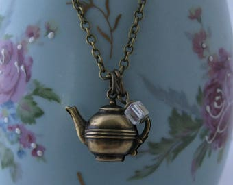 Teapot Necklace A LITTLE TEA vintage brass teapot tea pot necklace teapot jewelry high tea teapot charm alice in wonderland 3d tea lover