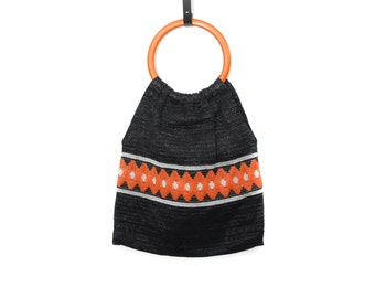 Vintage nylon shopper handbag, black and orange square flat grocery tote bag with round plastic top handle, 1970s women's accessory gift