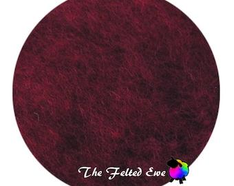 Needle Felting Wool Batt / DR15 Cranberry Preserves Carded Wool Batt