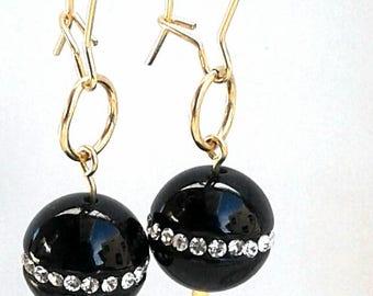Gold Filled Swavorski Crystal Black Onyx Drop Earring