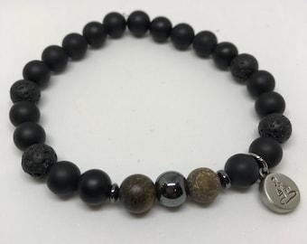 Natural Black Onyx, Lava Rock, Hematite & Bronzite Bracelet, Handmade