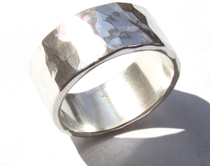 10mm Wide Wedding Ring, Silver Wedding Ring, Hammered Wedding Ring, Hand Made, Hand Forged, His Ring, Her Ring, Rustic Ring