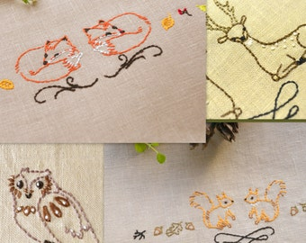Hand embroidery patterns, embroidery pattern pdf, embroidery animals, woodland animals, set of 4