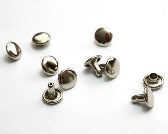 Double Cap Rivets Sm 8mm x 6mm - 50 pack Nickel
