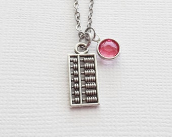 Abacus Necklace Counting Math Necklace Mathematician Scholar Teacher Professor Gift Silver Jewelry Swarovski Channel Birthstone Crystal