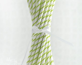 Thin Striped Paper Straws - Lime Green