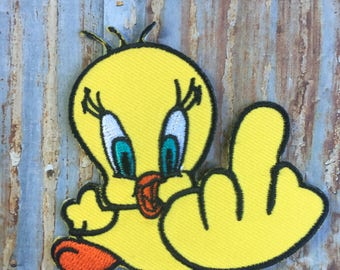Yellow Middle Finger Flipping the Bird Tweety Iron On Sew On Patch Patches Badge Clothing Hat Bag