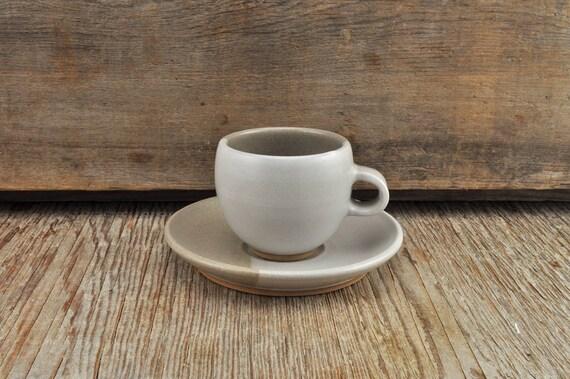 Two-tone satine glaze stoneware coffee / tea cup and saucer