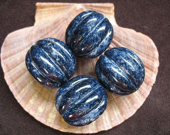 Vintage Lucite Beads Navy Blue Speckled Fluted Pumpkin Shape Pattern  24mm x 23mm - Four pieces