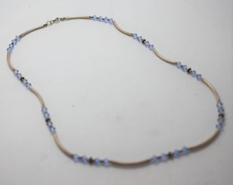 Blue  or Green crystal and silver necklace