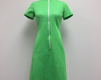 1960's Woman's Dress - Mock Neck Dress - Lime Green - Zipper Front - 60s Dress