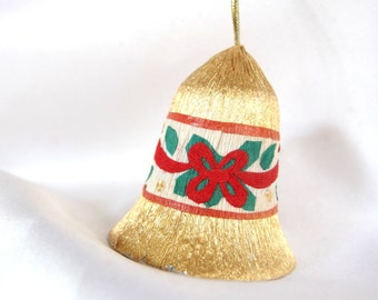 Vintage Gold Foiled Plastic Christmas Holiday Bell Ornament