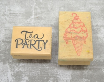 wooden tea party theme 2 stamps