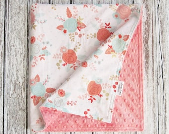 Coral Floral Baby Blanket, White and Coral Baby Blanket, Minky Baby Blanket