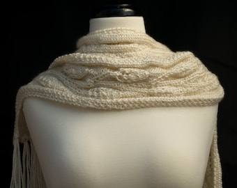 Ivory Knit Scarf - Cream Handmade Lightweight Scarf with Long Fringe - Off White Vintage Style Wrap - Beige Acrylic Non Wool Accessory Gift