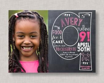 Ninth Birthday Invitation, 9th Birthday Invitation, Girl Birthday Invitation, Photo Invitation, 9th, Number 9, Ninth Birthday, Girl Bday