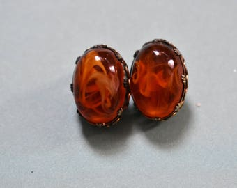 Vintage Orange Clip On Earrings Mid Century Style Earrings Classic Retro Clip On Earrings Anniversary Gifts For Her Oval Earrings