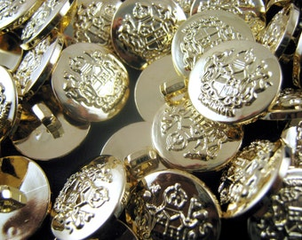 Gold Plastic Crested Blazer Buttons - 3 Sizes 15mm, 18mm, 21mm - With Shank