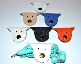 Cord holder cat cord organizer earbud holder leather travel gifts cable keeper earbud organizer leather earphone organizer headphone holder