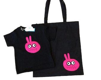 mi cielo x Matthew Langille - Bunny Monster Gift Set – Black T-Shirt and Tote Bag - Boys or Girls