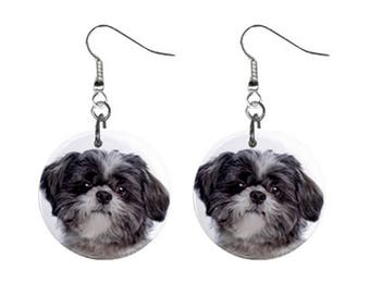Funny LHASA APSO Face Dog Puppy Lovers Gift Collection Dangle Metal EARRINGS