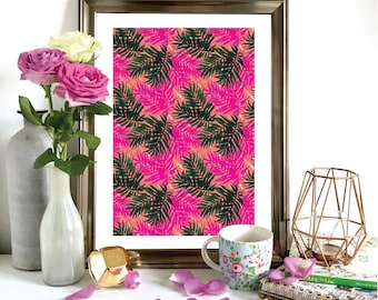 Pink Tropical Leaves Print, Illustration, Wall Art, Drawing A3, A4, A5