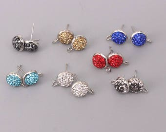 10 Pairs (20 pc) Round Shape Post Earring Findings with Open Loop, 10 mm Clay Paved Rhinestone Stud Earrings,Earring Supplies