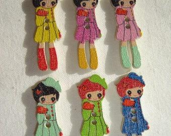6 buttons little girl / / 11 X 31 mm