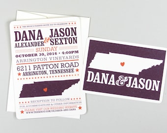 Nashville Tennessee 5x7 Hatch Show Print Inspired Wedding Invitation with RSVP Postcard