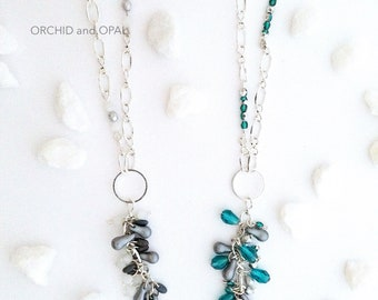 Beaded Teal Glass & Crystal Teardrop Pendant Necklace on Silver-Plated Chain with Silver-Plated Ring, Modern, Also Available in Gray/Silver!