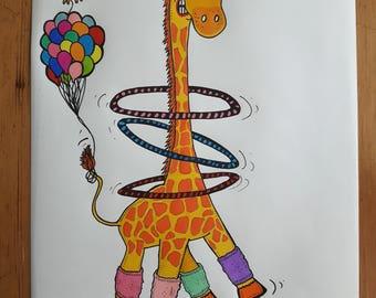 Jumping Giraffe A4 print