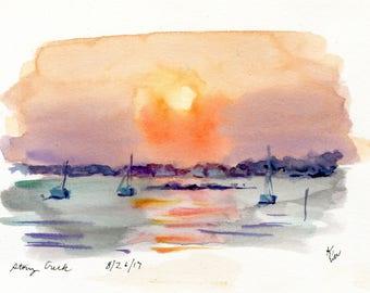 5x7 Original Watercolor Painting - Stony Creek