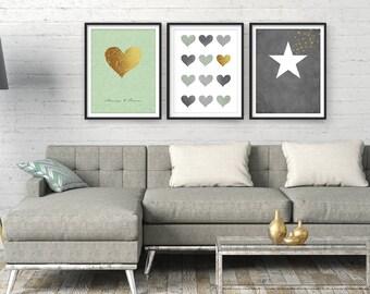 Living room wall art, Large wall art, Modern art, Wall art, living room art, Bedroom wall art, Art print, Set of 3, Contemporary art, giclee