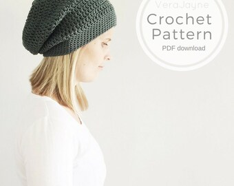 PDF Pattern, Crochet slouchy beanie hat pattern, digital download, permission to sell finished items, pattern by VeraJayne