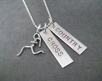 CROSS COUNTRY Runner Necklace Sterling Silver - 16, 18 or 20 inch Sterling Ball Chain - Choose RUN Charm - Cross Country Team - Xc Runner