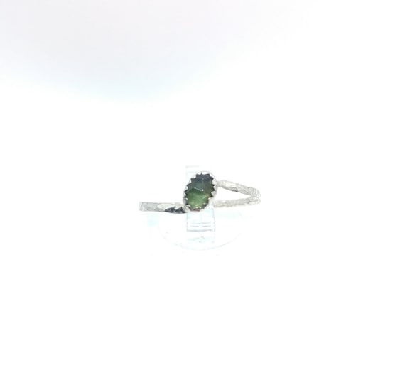 Rose Cut Forest Green Sapphire Ring | Sterling Silver Ring Sz 9 | Rose Cut Sapphire Ring | September Birthstone Ring | Green Stone Ring
