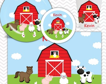 Barn Yard Red Plate, Bowl, Cup, Placemat - Personalized Farm Dinnerware for Kids - Custom Tableware