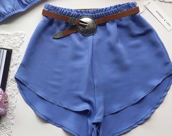 Cornflower periwinkle blue party basic high waist racer shorts