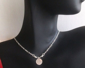 ON SALE 15% Silver coin necklace - disc necklace - 925 sterling silver necklace - sterling silver necklace - dainty silver jewelry