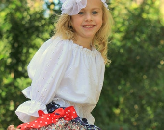 Adorable Girls/Toddler Eyelet Lace Peasant Blouse for Spring, Summer  12m,2T,3T,4T,5T,6T,7T